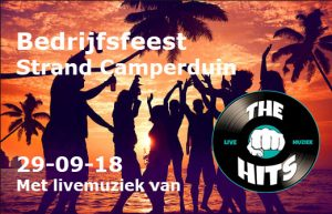 Coverband The Hits geboekt voor bedrijfsfeest aan het strand